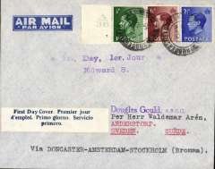 (GB External) England to Sweden, imprint etiquette airmail cover franked FDI KEVIII set of 3, canc Huddersfield cds, blue/white three line 'First Day Cover' label.