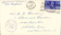 """(GB Internal) Great Western and Southern Air Lines, cover flown Paisley, Scotland to Northumberland, no arrival ds, franked 2 1/2d, tied by Paisley 11 Jul 1946 machine cancel, and purple circular """"Scottish Airways Ltd/Air Letter Service"""" hs, ms 'Per GW & SA Lines/via Renfrew'."""