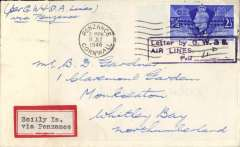 """(GB Internal) Great Western and Southern Airlines, introduction of wartime Penzance-Scilly Isle airmail sevice, flown cover from Scilly Isles to Penzance at the 4d rate, plain cover franked 2 1/2d cancelled Penzance cds applied on arrival, violet framed """"Letter by GW & SR/Airlines/Paid (ms 4d) """" to denote payment of airmail charge. The service was introduced to cope with the influx of service personnel to the islands. See Lister P, p7. Ironed vertical crease 3cm in from lh edge, see scan."""