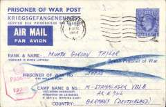 """(World War II) England to Italy WW II, undelivered British Prisoner of War Post/Kriegsgefangenenpost/Service des Prisonniers de Guerre airmail lettersheet, H&G FG2, blue tablet """"Air Mail/Par Avion"""",franked imprint 2 1/2d KGVI, postmarked Chester wavy line, addressed to M-Stammlager VIII B Camp, Germany, red octagonal """"PW 6925"""" hs, verso violet framed five line """"This letter formed part of undelivered /mails which fell into the hands of/ the Allied/Forces in Germany. It is/ undeliverable as addressed and is/ therfore returned to you"""" hs"""