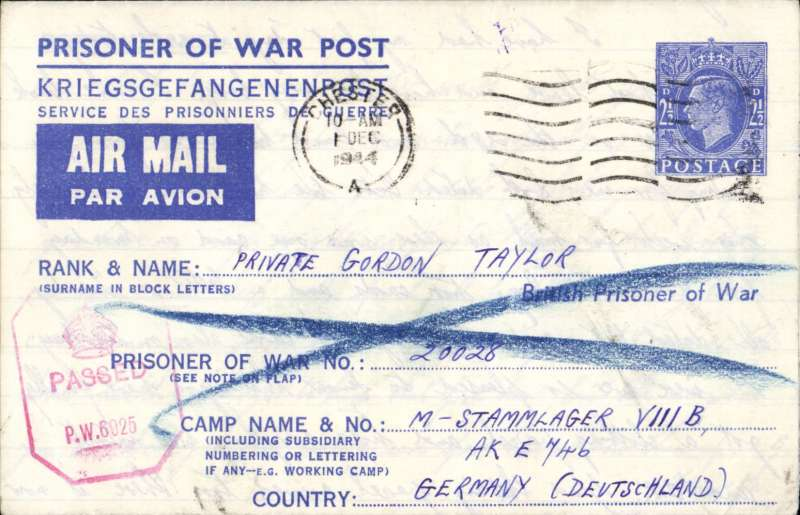 """(GB External) England to Italy WW II, undelivered British Prisoner of War Post/Kriegsgefangenenpost/Service des Prisonniers de Guerre airmail lettersheet, H&G FG2, blue tablet """"Air Mail/Par Avion"""",franked imprint 2 1/2d KGVI, postmarked Chester wavy line, addressed to M-Stammlager VIII B Camp, Germany, red octagonal """"PW 6925"""" hs, verso violet framed five line """"This letter formed part of undelivered /mails which fell into the hands of/ the Allied/Forces in Germany. It is/ undeliverable as addressed and is/ therfore returned to you"""" hs"""