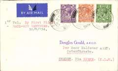"""(GB Internal) First acceptance for Sweden for carriage on the Railway Air Service new air mail service, F/F London to Liverpool, then OAT same day on KLM service to Malmo, Malmo/Luftpost/20.8.34 arrival ds verso, airmail etiquette envelope franked KGV 1/2d, 2d and 3d and postmarked London 20 Aug 1934 1.15pm, typed """"1ier Vol. By First Flight/Rail Air Services/20/8/34""""."""