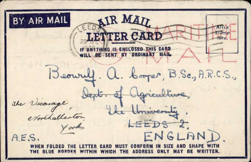 (Australia) Australia to England, air letter sent by Maritime Mail from the British Pacific Fleet, Sydney, Australia to Leeds POA 'Leeds/20 Dec/1945, large red 'Maritime Mail' cachet. Interestng contents.