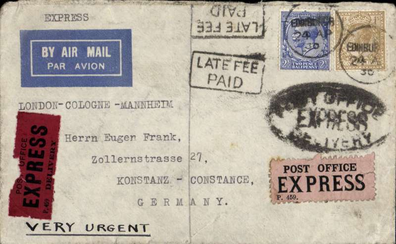 (GB External) Scotland to Germany carried at the Express rate, Edinburgh to Constance bs 26/4, via Cologne, and Manenheim Airport 25/4, imprint etiquette cover franked 1/ 2 1/2d, black oval 'Post Office/Express/Delivery' and framed 'Late Fee/Paid' hs's, black/dark red 459 and black/pink 459 'Express' labels, ms 'Very Urgent'. Verso red framed 'Mit Luftpost Manenheim' arrival hs and three different Imperial Airways propaganda labels, one tied by transit and arrival cds's. Nice item