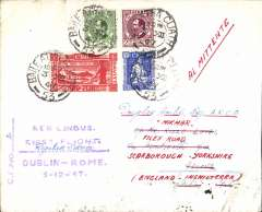 (Ireland) Aer Lingus Teoranta, F/F Dublin to Rome, 4/12, franked 8d, violet four line flight cachet.