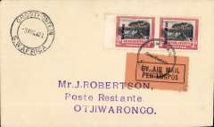 (South West Africa) SWAA, Provisional Internal Air Services, F/F Grootfontein to Otjiwarongo, bs 3/8, J Robertson cover franked 6d, black/orange airmail etiquette tied by black circular 'Lugpos/Grootfontein/Air Mail' cachet.