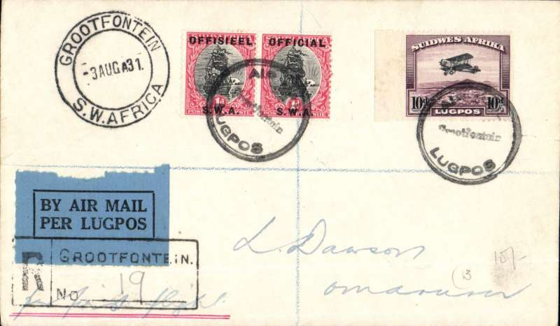 (South West Africa) SWAA, Provisional Internal Air Services, F/F Grootfontain to Omaruru, bs 1/8, reg (label) cover franked 10d and 2d, black circular 'Lugpos/Grootfontein/Air Mail' cachet.