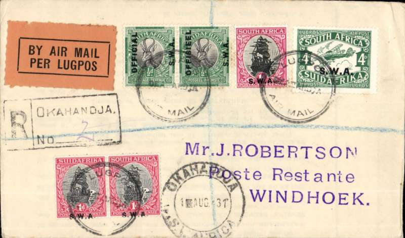 (South West Africa) SWAA, Provisional Internal Air Services, F/F Okahandja to Windhoek, bs 3/8, J Robertson registered (label) cover franked  8d, black circular 'Lugpos/Okahandja/Air Mail' cachet, black/orange airmail etiquette.