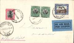 """(South West Africa) SWAA, Provisional Internal Air Services, F/F Windhoek to Omaruru, bs 1/8, plain cover franked 5d, Airpost/Windhoek/Lugpos cachet., blue/black """"Per Lugpos"""" etiquette."""