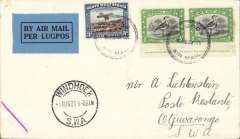 """(South West Africa) SWAA, Provisional Internal Air Services, F/F Windhoek to Otjiwarongo, bs 1/8, plain cover franked 4d, Airpost/Windhoek/Lugpos cachet., blue/black """"Per Lugpos"""" etiquette."""