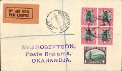 """(South West Africa) SWAA, Provisional Internal Air Services, F/F Windhoek to Okahandja, bs 1/8, J Robertson reg (label) cover franked 8d, Airpost/Windhoek/Lugpos cachet., orange/black """"Per Lugpos"""" etiquette. Francis Field authentication hs verso."""