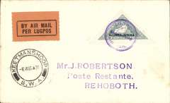 (South West Africa) SWAA F/F, Keetmanshoop to Rehoboth, bs 6/8, J Robertson cover franked 4d triangular, canc special 'Lugpos/Keetmanshoop/Air Mail' cachet, black/orange airmails etiquette.