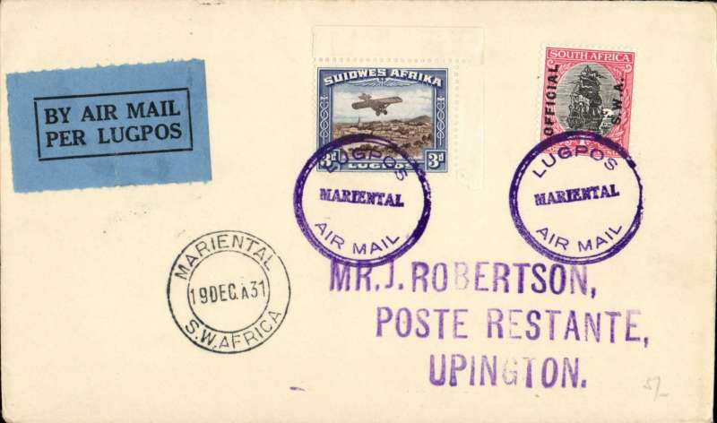 (South West Africa) SWAA F/F, Marienthal to Uppington, bs 20/12, J Robertson cover franked 4d, canc violet 'Lugpos/Marienthal/Air Mail' cachet, black/orange airmails etiquette.