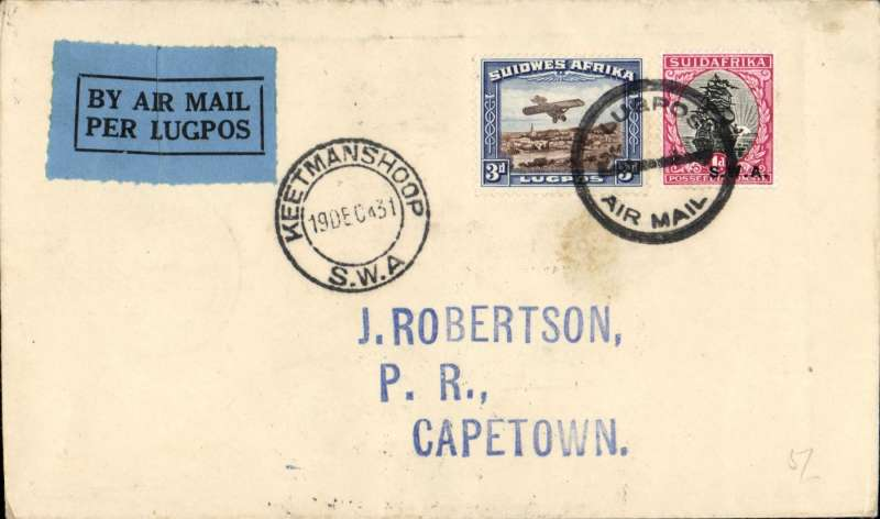 """(South West Africa) SWAA, F/F Keetmanshoop to Cape Town, bs 20/12, J Robertson cover franked 4d, canc double circle """"per lugpos/Keetmanshoop/ Air mail"""", also """"Keetmanshoop SWA"""" cds, blue/black airmail etiquette, blue/black airmail etiquette."""