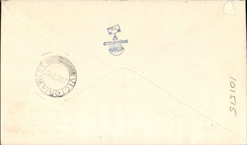 (South West Africa) SWAA, F/F Windhoek to Victoria West, bs 21/12, J Robertson cover franked 4d, canc double circle Windhoek cds, blue/black airmail etiquette, blue/black airmail etiquette. Francis Field authentication hs verso.