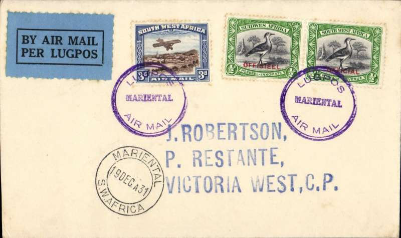 (South West Africa) SWAA, F/F Marienthal to Victoria West, bs 21/12, J Robertson cover franked 4d, canc violet double circle 'LugposMarienthal/Air Mail' cachet, blue/black airmail etiquette, blue/black airmail etiquette.