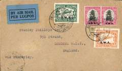 (South West Africa) Windhoek to London,carried on South West Africa Airways, F/F Wyndhoek to Cape Town, bs 21/12, connecting flight to link onward mail with the Imperial Airways Experimental Air  Mail Service from Cape Town-London, plain cover franked 1/6d4d air canc special 'Windhoek/Lugpos cds, black/blue 'By Air Mail/Per Lugpos' etiquette.