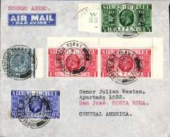 (GB External) London to San Jose, Costa Rica, bs 28/7, correctly rated 1/3d for carriage 1/2 oz by surface to New York then OAT by US air service, see Proud p236. Imprint airmail etiquette cover franked 10d + 1/2d, 1d(2) and 2 21/d S Jubilee. Fast 11 day transit,