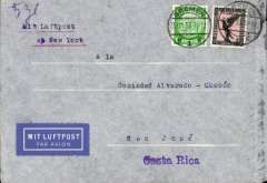 (Germany) Germany to Costa Rica, bs 12/12, airmail etiquette cover franked 1.05m for carriage by surface to New York then OAT by US air service canc Bremen cds, typed 'Mit Luftpost/ab New York', ms '5gr'. Fast 13 day transit.
