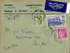 (France) France to Costa Rica, bs 21/10, airmail etiquette cover franked 6F75 for carriage by surface to New York then OAT by US air service, canc Paris cds, ms 'Via New York'. Rapid  9 day transit. - ? fast ocean liner to NY. Uncommon origin-destination combination.