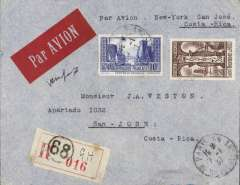 (France) France to Costa Rica, bs 18/1, via New York 14/1 and Miami 15/1, high frank registered (label) cover with attractive red imprint airmail etiquette franked 17F for carriage by surface to New York then OAT by US air service, canc Paris cds, typed 'Par Avion - New York - San Jose', ms 'Via New York'. Rapid  11 day transit.. Uncommon origin-destination combination.
