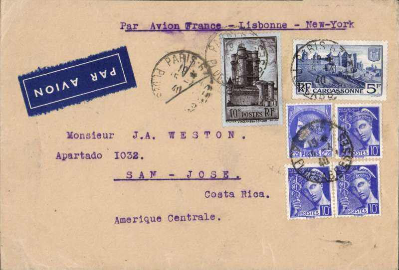 (France) Scarce WWII uncensored airmail, France to Costa Rica, Paris to San Jose, bs 5/5, airmail etiquette cover franked 15F40, canc Paris/15.4.40 cds, typed 'Par Avion France-Lisbon-New York'. Posted shortly before Germany invaded France in May 1940. WWII uncensored airmail to North and South America is uncommon - to Costa Rica even more so.
