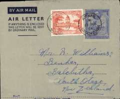 (British Guiana) British Guiana to New Zealand, no arrival ds, dark blue/grey KGVI 6c air letter with additional 12c, verso photo view of Kaieteur Fall. Uncommon origin-destination combination.