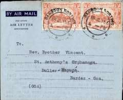 (Burma) Dark blue/light blue air letter sheet, Rangoon to Goa, bs Duller-Goa.