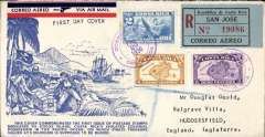 (Costa Rica) Cocos Island, registered (label) Pirate Treasure souvenir cover franked FDI 4c and 8c flown to Huddersfield, UK, no arrival ds, via Brownsville  4/2 and New York 5/2