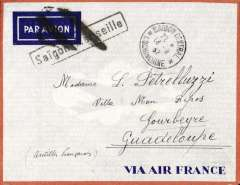 (French Indochina) Saigon to Guadeloupe, bs 5/9, grey/orange border Via Air France envelope with company logo on flap, franked 66c canc Saigon Central cds, black framed 'Saigon a Marseille' Jusqu'a applied in Saigon, and black double bar Jusqu'a applied in Marseille, both cancelling imprint airmail etiquette. Air to Marseilles, then surface to destination.