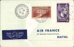 (France) Round the World Flight, Paris to Natal 18/10, to Belem 22/10, to New York 25/10, to Hong Kong 9/11 and return to Paris 22/11, special cover which opens into five franked and cancelled sections, one for each leg of the journey