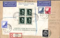 (Germany) Hitler's Birthday ms franking registered (label) airmail FDC with additional 45pf all canc Berlin-Lankwitz cds, flown to England, no arrival ds, blue/white airmaikl etiquette.