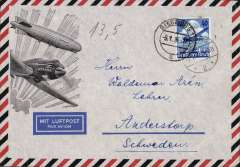 (Germany) Siegburg to Andersthorp, Sweden, bs Malmo 10/1 Luftpost, Zeppelin airmail envelope franked Lufthansa Anniversary 40pf canc Siegburg cds