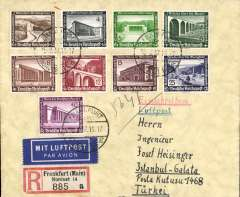 (Germany) Frankfurt to Istanbul, bs Galata 21/2, registered (label) cover franked 1936 Winter Relief set of 9 stamps canc  Frankfurt cds, airmail etiquette.