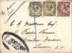 """(GB Internal) National Railway Strike Emergency Air Mail Service, scarce cover flown Manchester to London, no arrival ds, plain cover correctly rated 2/1 1/2d (inc air fee of 2/-), canc 'Manchester Telegraphs Western District Office/2 Oct/19', ms """"By Aeroplane Post"""", black oval framed 'EXPRESS'."""