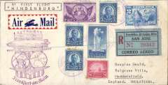 "(Airship) Costa Rica acceptance for return of LZ129 Hindenburg, 1st North America flight, Lakehurst to Germany, b/s Frankfurt (Main) 14/5, via Brownsville 3/3 transit cds, registered (label) cover, dual franked franked 2Col and 48c US stamps all cancelled 'Correo Aereo/May 1 1936/Costa Rica' cds, violet US Lakehurst-Frankfurt flight confirmation mark, black framed endorsement ""By First Flight Hindenburg', attractive red/white/blue airmail etiquette. Catalogued 1250 Euros Sieger (2001)."