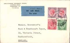 (Malaya Straits Settlements) KLM, Straits Settlements to London, no arrival ds, Anglo-Chinese Secondary School corner cover franked Straits Settlements 78c, canc  Singapore cds, black/blue 'P&T Mail 25 airmail etiquette.