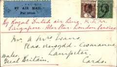 (Malaya Straits Settlements) Labuan to London, no arrival ds, KLM airmail carried on the Singapore-Alor Star-London service, plain cover franked Straits Settlements 50c and 5c, canc Labuan' cds, black/blue 'P&T Mail 25 airmail etiquette front and verso, ms 'By Royal Dutch airline/Singapre-Alor Star-London'.