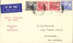 (Singapore) Imperial Airways/Qantas, F/F Singapore to New Zealand, no arrival ds, via Brisbane, bs 21/12, carried on the first regular weekly service UK-Australia, franked Straits Settlements 25c, canc Ipoh 12 DE 1934 cds, plain cover, typed 'First Official Air Mail/Singapore to Australia.