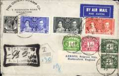 (Singapore) Singapore to England, underpaid airmail cover franked 1937 Coronation set of 3 +1c, canc Singapore cds, also 9 1/2d GB postage dues canc Huddersfield 25.10.37, large black framed  '9 1/2d To Pay', and black hexagonal 'T/Centimes/(ms) 130' hand stamps.