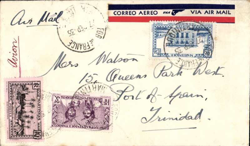 (French Martinique) Early airmail, Martinique to Trinidad, Forte de Fance to Port of Spain, bs 28/9, airmail etiquette cover franked 14F50, Pan Am.