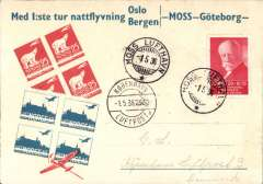 (Norway) First night airmail, Moss to Copenhagen, 1.5.36 arrival ds on front, attractive cream/red/blue souvenir cover, DNLO.