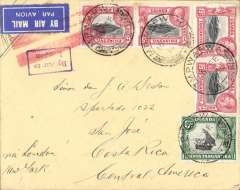 (Kenya) Kenya/Uganda/Tanganyika to Costa Rica, no arrival ds, via Dodoma 17/9, airmail cover franked 65c canc Mpwapwi cds, airmail etiquette by red double bar Jusqu'a applied in London, uncommon violet 'By Air to/London', ms 'Via London and New York' . Flown by Imperial Airways to London, then surface to destination via New York. Uncommon origin and destination.