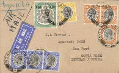 (Tanganyika) Tanganyika to Costa Rica, bs San Jose 2/4, via Moshi 13/3, airmail cover franked 1/- and 160c canc Ngare-Nairobi cds, tied airmail etiquette ms 'Air Mail' and 'from USA', surface to US then OAT to Costa Rica. Uncommon origin and destination.