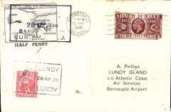 (Lundy Island) Atlantic Coast Air Services, early airmail Barnstaple to Lundy, arrival confirmed by black rectangular Lundy 28 April 36 cancellation over Lundy 1/2 puffin local, plain cover addressed to Barnstaple Airport, franked GB Silver Jubilee 1 1/2d (tiny cornerperf scuff), canc Barnstaple cds, and ACAS Lundy 1d second issue air stamp tied by black framed special ACAS. handstamp. Nice item in fine condition with all appropriate stamps, cancellations and handstamps. Few minor tone spots, see image.