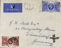 (GB External) London-Dusseldorf, no arrival ds, plain cover franked GB Silver Jubilee 1 1/2 and 2 1/d canc Kensington cds, hitherto unrecorded black cross Jusqu'a, not known where applied, Imperial Airways