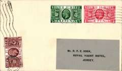 (GB Internal) Rare Whoopee Sports Ltd  F/F Plymouth to Jersey, plain cover franked GB Silver Jubilee 1/2d, 1d, and 1 1/2d, flown from Plymouth at 5am on 28/6 to Jersey where, on arrival  it was re-posted to a Jersey address (The Royal Yacht Hotel, Jersey) and cancelled with a 'Jersey/4.15pm/28 Jun 1935'  machine postmark. A true gem in superb condition. For a detailed description of this cover, see Redgrove p99.