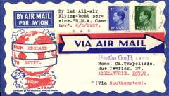 (GB External) First regular eastbound all air service from Southampton to Alexandria, bs 10/2, attractive Philatelic Magazine cover franked KE VIII 1/2d and 2 1/2d, red/white/blue 'arrow' airmail etiquette. The first stage of this flight, by RMA Castor, was interrupted twice, firstly by engine failure, and then by bad weather, see flight IE  521, Wingent p191.  Copies of  reports of these events on 6, 7 and 8 February, taken from the Southern Daily Echo, and published in Wingent's 'Imperial Airways Empire Flying Boat Services 1936 to 1939' are included in this lot. A nice exhibit item in fine condition.