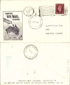 (GB External) Imperial Airways, F/F Third Stage EAMS, London to Norfolk Island, 7/9 arrival ds front, plain cover franked 1 1/2d, large black framed 'Empire Air Mail Scheme' cachet.