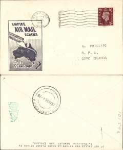 (GB External) Imperial Airways F/F Third Stage EAMS, London to Cook Islands, bs Rarotonga 29/8, black boxed 'Empire Air mail Scheme/Stage 3/ 1 1/2d Half Ounce' cachet, rated 1 1/2d.